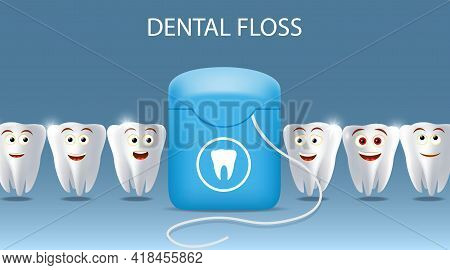 Oral Care Dental Floss Vector Poster, Banner Template. Kids Oral Health, Teeth Cleaning And Hygiene,