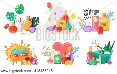 Perfume Set, Flat Vector Isolated Illustration. Seasonal And Holiday Sale And Discounts Promo Banner