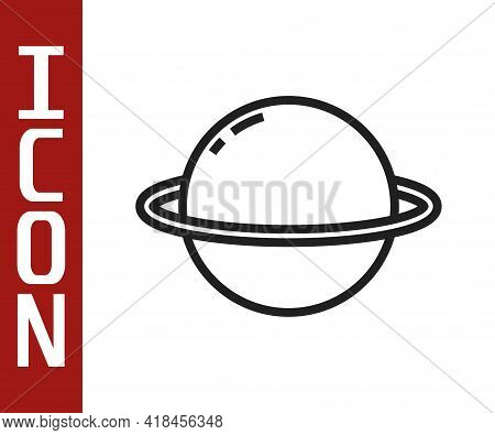 Black Line Planet Saturn With Planetary Ring System Icon Isolated On White Background. Vector
