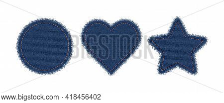 Denim Circle, Heart And Star Shapes With Stitches. Torn Jean Patch With Seam. Vector Realistic Illus