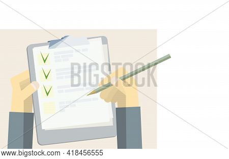 Green Check Marks In The Questionnaire And A Holder For Papers With A Pencil In Hand. Multiple Choic