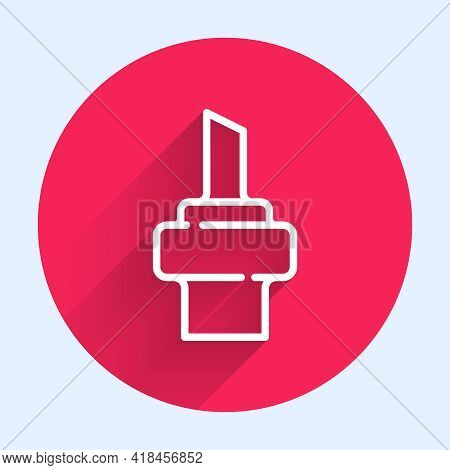 White Line Wooden Cork For Wine Icon Isolated With Long Shadow. Red Circle Button. Vector