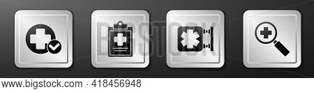 Set Cross Hospital Medical, Medical Clipboard With Clinical Record, Medical Symbol Of The Emergency