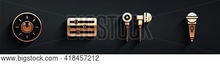 Set Dial Knob Level Technology Settings, Sound Mixer Controller, Air Headphones And Microphone Icon