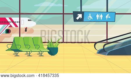 Airport Waiting Hall Interior, Banner In Flat Cartoon Design. Departure Lounge With Chairs, Escalato
