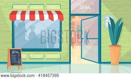 Exterior Of City Cafe Interior, Banner In Flat Cartoon Design. Open Door, Coffee Shop Showcase, Pott