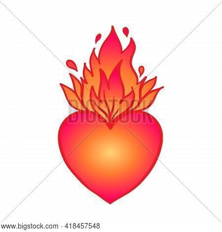 Sacred Heart Of Jesus With Rays. Vector Illustration In Red And Gold Isolated. Trendy Vintage Style