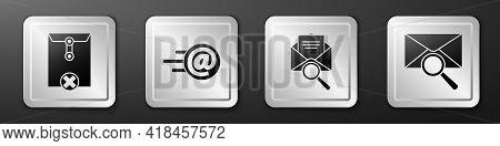 Set Delete Envelope, Mail And E-mail, Envelope With Magnifying Glass And Envelope With Magnifying Gl