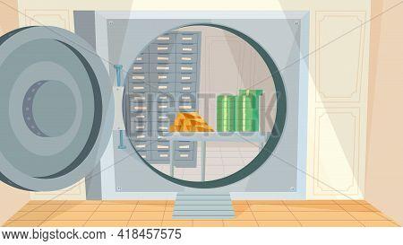 Safe Deposit Box At Bank Interior, Banner In Flat Cartoon Design. Huge Door With Combination Lock Fr