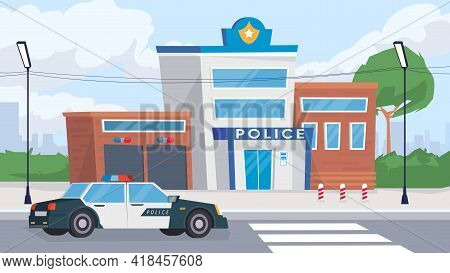 Police Department Building View, Banner In Flat Cartoon Design. Exterior Of Police Station With Patr