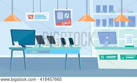Gadget Shop Interior, Banner In Flat Cartoon Design. Table With Monitor, Smartphones And Tablets, Sh
