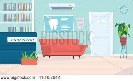 Dentistry Waiting Room Interior, Banner In Flat Cartoon Design. Lobby With Reception Desk, Sofa For