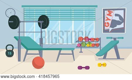 Gym Interior, Banner In Flat Cartoon Design. Sports Center With Machines, Barbell, Dumbbells, Ball.