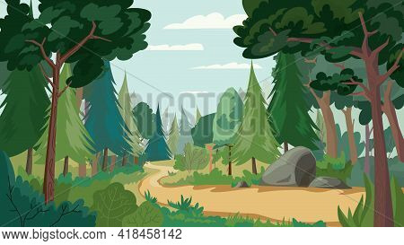 Dense Green Forest View, Banner In Flat Cartoon Design. Scenery With Different Types Of Trees, Bushe