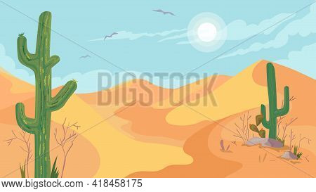 Mexico Hot Desert View, Banner In Flat Cartoon Design. Scenery With Cacti, Plants, Sand Dunes And St