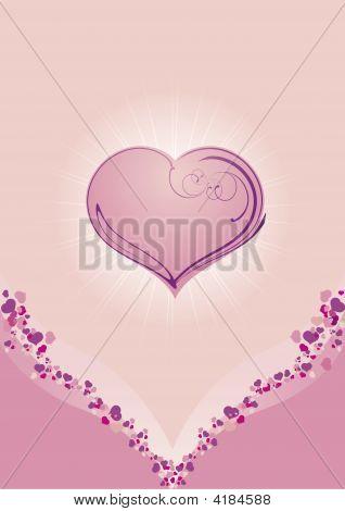 Pink Valentine Postcard Whit Heart