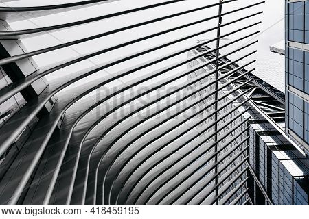 New York City, Usa - June 20, 2018: Low Angle View Of Skyscraper And World Trade Center Transportati