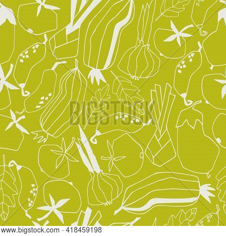 Seamless Repeating Pattern With Vegetables. Abstract Trendy Illustrations On Green Background