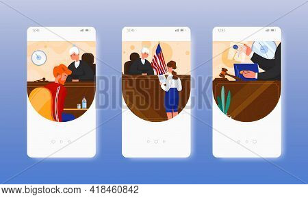 Court Session. Law And Justice. Judgment. Mobile App Screens, Vector Website Banner Template. Ui, We