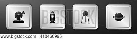 Set Astronomical Observatory, Rocket Ship, Satellite And Planet Saturn Icon. Silver Square Button. V