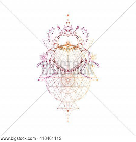 Vector Illustration With Hand Drawn Scarab And Sacred Geometric Symbol On White Background. Abstract