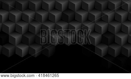 Abstract black geometric 3d cubes technology background