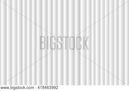 Closed White Curtain With Many Shadow Wavy Background. Theatrical Fabric Clean Drapes Stage For Open
