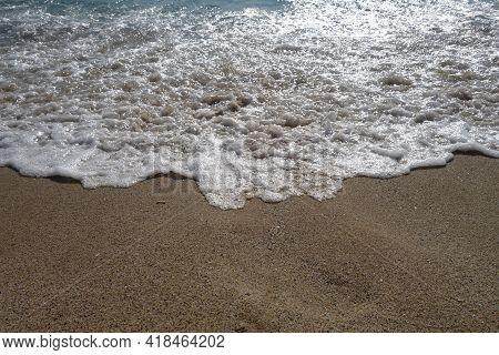 Coming Wave And Beach. Seasonal Natural Background.