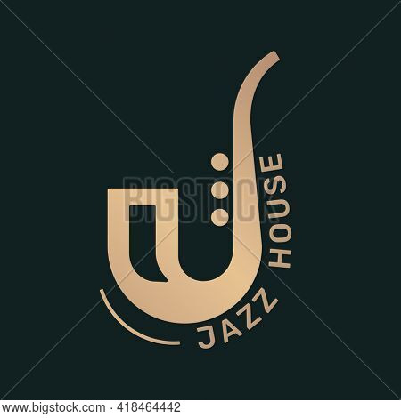 Saxophone music icon flat design in black and gold, jazz house