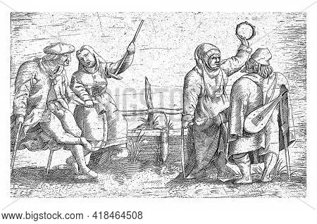A crippled couple with two crippled musicians with lute and tambourine next to them. Print from a series of three prints after a series of twelve prints by Cornelis Massys.