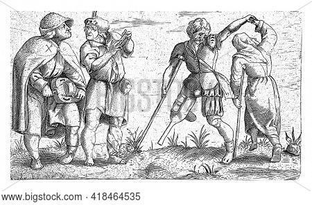 A crippled couple dancing, next to them two musicians, one with a hurdy-gurdy.