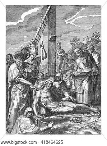 Christ at the foot of the cross, supported by Mary. Next to her is John the Baptist.