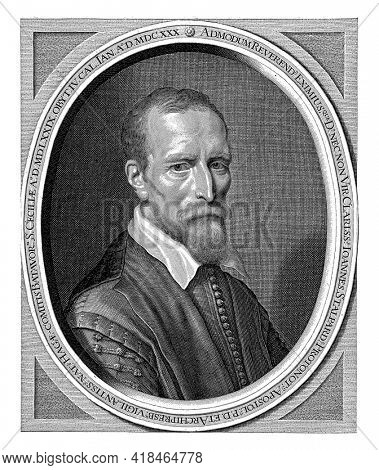 Portrait of Johannes Stalpaert van der Wiele, bust in sober clothing in oval frame with Latin inscription. In the bottom margin Dutch verse in two stanzas of four lines.