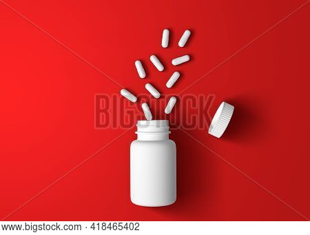 White Pills And Pills Bottle On Red Background With Copy Space. Medicine Concepts. Minimalistic Abst