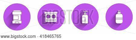 Set Antiperspirant Deodorant Roll, Eye Shadow Palette, Cream Lotion Cosmetic Tube And Perfume Icon W