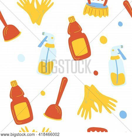 Cleaning Service Seamless Pattern. Funny Cartoon Pattern Of Cleaning Tools. Eco Friendly Household C