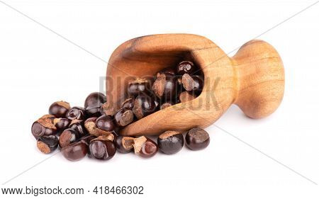 Guarana Seed In Wooden Scoop, Isolated On White Background. Dietary Supplement Guarana, Caffeine Cou
