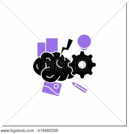 Brainstorming Glyph Icon.relaxed, Informal Approach To Problem Solving With Lateral Thinking. Exchan