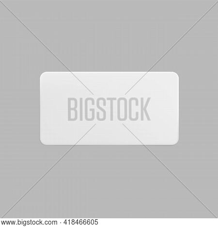 White Glued Rectangle Sticker Mock Up. Blank White Adhesive Paper Or Plastic Sticker Label. Template
