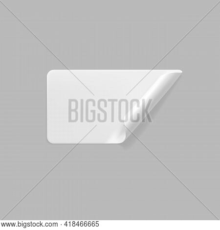 White Glued Rectangle Sticker With Curled Corners Mock Up. Blank White Adhesive Paper Or Plastic Sti