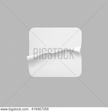 White Square Glued Sticker Mock Up. Blank White Adhesive Square Paper Or Plastic Sticker Label With