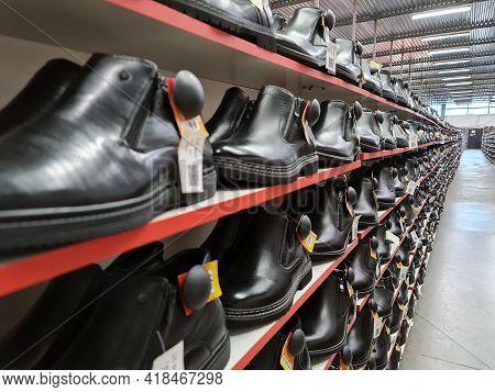 Shoe Store. Sale Of Footwear. Assortment Of Footwear.