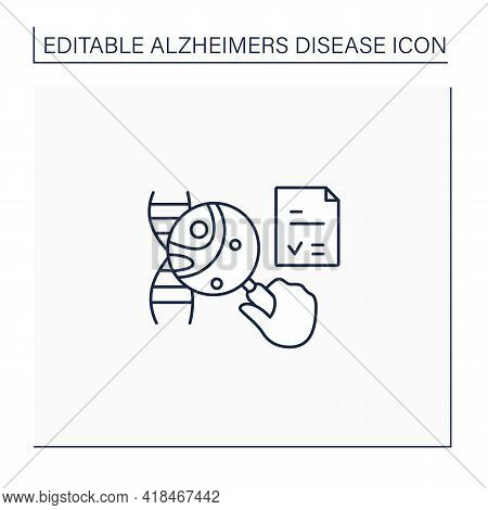 Genetic Testing Line Icon. Medical Test. Identifies Changes In Chromosomes, Genes, Proteins. Examini