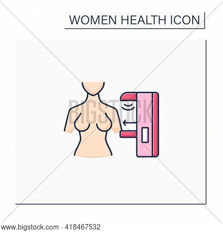 Mammogram Color Icon. Breast Health.ultrasounds. Timely Breast Examination.healthcare. Woman Health