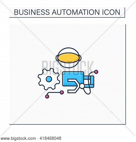 Robotizing Color Icon. Robotic Process Automation. Replacement For Manual, Screen-based Work Perform