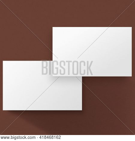 Blank white business card in front and rear view