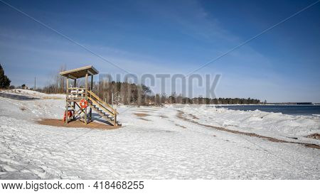 Beach guard tower at Mc Cartys cove near Marquette city