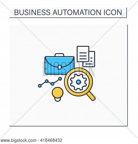 Analysis Business Color Icon. Automation Analyzes Data.find Mistakes In Data. Virtual Analyst. Busin