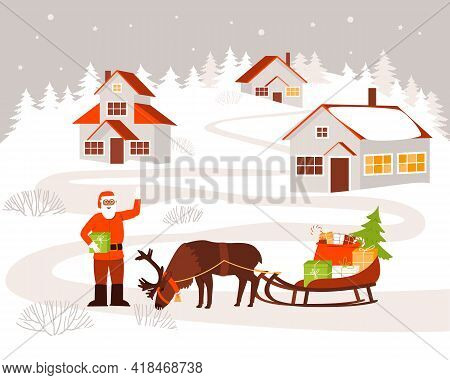 Santa Claus Came To The Village To Deliver Gifts To Children. Santa Claus Stands Next To A Deer And