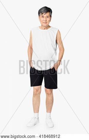 White tank top mature men's summer apparel with design space full body